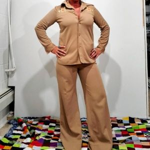 Vintage 70s Hand Made Polyester Jumpsuit